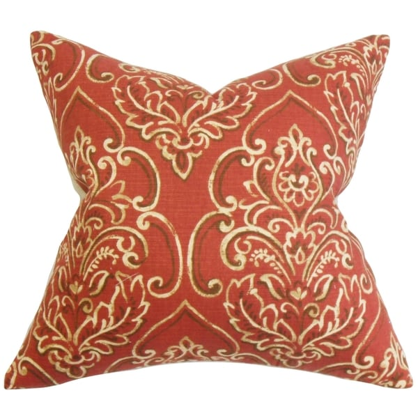 Yonah Floral Feather and Down Filled Throw Pillow Red