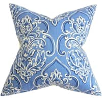 Yonah Floral Feather and Down Filled Throw Pillow Blue
