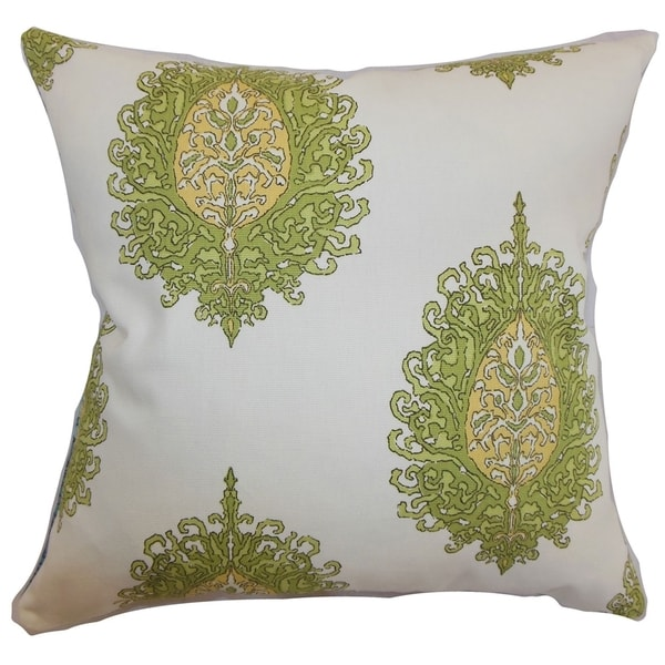 Perigueux Damask Feather and Down Filled Throw Pillow Leaf