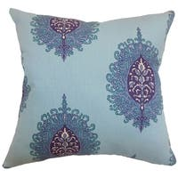 Perigueux Damask Feather and Down Filled Throw Pillow Aquadisiac