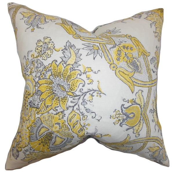 Throw Pillow Fillers : Laelia Floral Feather and Down Filled Throw Pillow Yellow - Free Shipping Today - Overstock.com ...