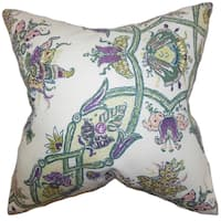 Laelia Floral Feather and Down Filled  Throw Pillow Purple