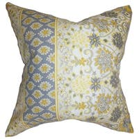 Kairi Floral Feather and Down Filled Throw Pillow Yellow