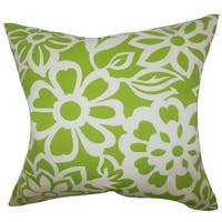Ozara Floral Feather and Down Filled Throw Pillow Green