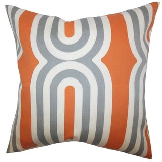 Persis Geometric Feather and Down Filled Throw Pillow Orange