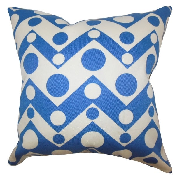 Blue Down Throw Pillows : Quenby Geometric Feather and Down Filled Throw Pillow Blue - Free Shipping Today - Overstock.com ...