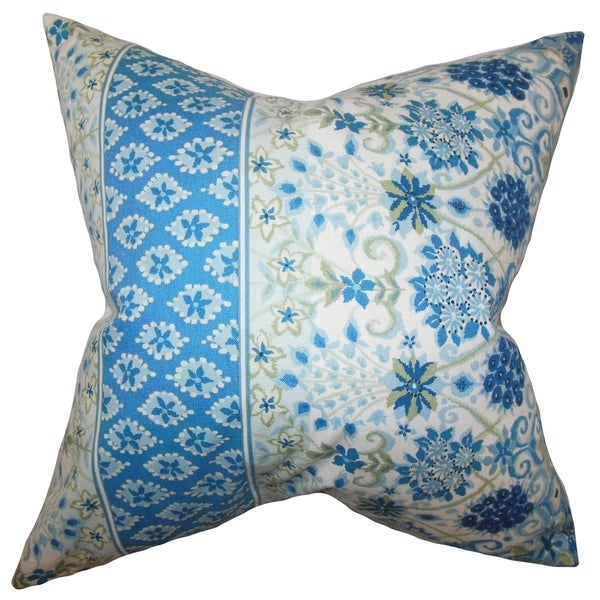 Kairi Floral Feather and Down Filled Throw Pillow Lapis
