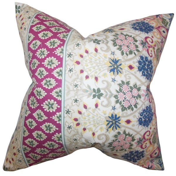 Kairi Floral Feather and Down Filled Throw Pillow Multi