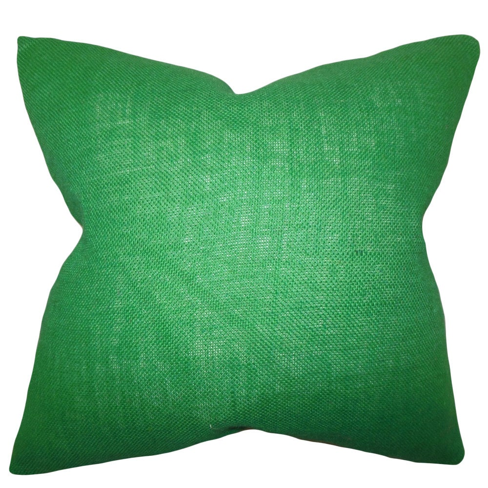 Ellery Green Solid Feather and Down Filled Throw Pillow (18-Inch)