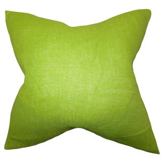 Ellery Lime Green Solid Feather and Down Filled Throw Pillow