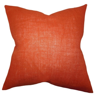 Ellery Orange Solid Feather and Down Filled Throw Pillow