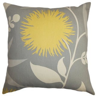 Huberta Gray and Yellow Floral Feather and Down Filled Throw Pillow