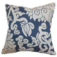 Erdenet Smoke Floral Feather and Down Filled Throw Pillow