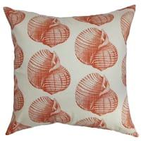 Bahari Aquatic Persimmon Down Filled Throw Pillow