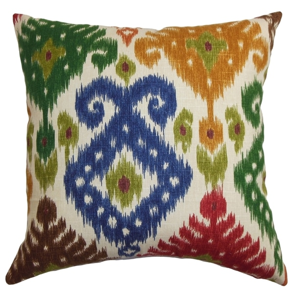 Blue Down Throw Pillows : Kaula Ikat Green and Blue Down Filled Throw Pillow - Free Shipping On Orders Over $45 ...
