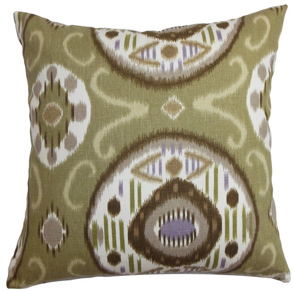 Maitryi Ikat Green Down Filled Throw Pillow