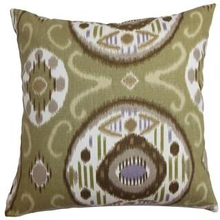 Maitryi Ikat Green Down Filled Throw Pillow