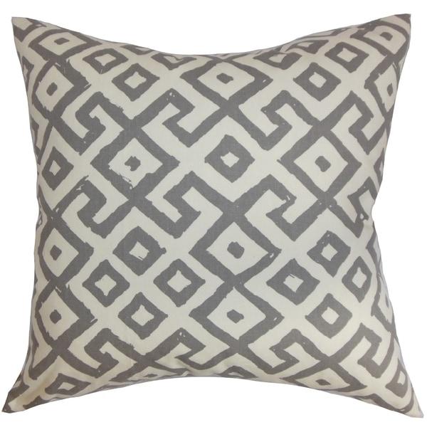Aban Geometric Graphite Down Filled Throw Pillow