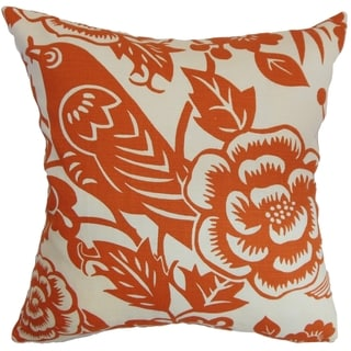 Campeche Tangerine Floral Down Filled Throw Pillow