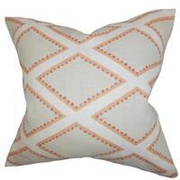 Alaric Geometric Gray Cora lDown Filled Throw Pillow
