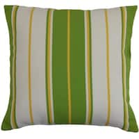 Saloni Green Stripes Down Filled Throw Pillow