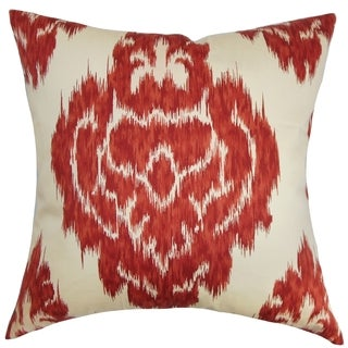 Ajayi Red Ikat Down Filled Throw Pillow