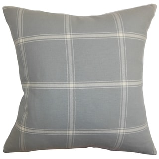 Naretha Gray Plaid Down Filled Throw Pillow