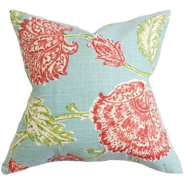 Behati Floral Down Fill Throw Pillow Aqua RedFree Shipping
