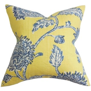 Behati Floral Down Fill Throw Pillow Blue Yellow (18-Inch)
