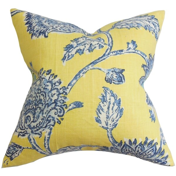 Blue Down Throw Pillows : Behati Floral Down Fill Throw Pillow Blue Yellow - Free Shipping Today - Overstock.com - 16232188