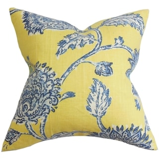 Shop Behati Floral Down Fill Throw Pillow Blue Yellow On