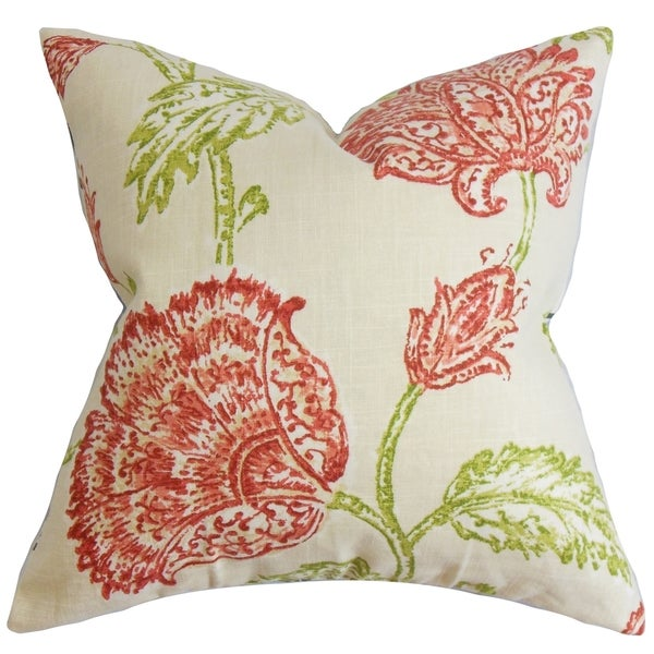 Throw Pillow Fillers : Behati Floral Down Fill Throw Pillow Natural Pink - Free Shipping Today - Overstock.com - 16232189