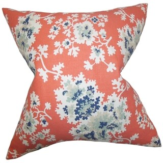 Danique Floral Down Fill Throw Pillow Coral