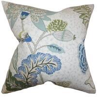 Ahna Floral Down Fill Throw Pillow Aqua