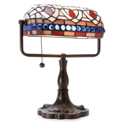12-inch Stained Glass Desk Lamp with Blue Gemstones