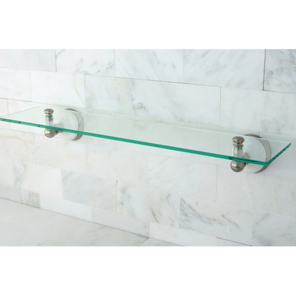 Brushed Nickel Glass Bathroom Shelf - Grey