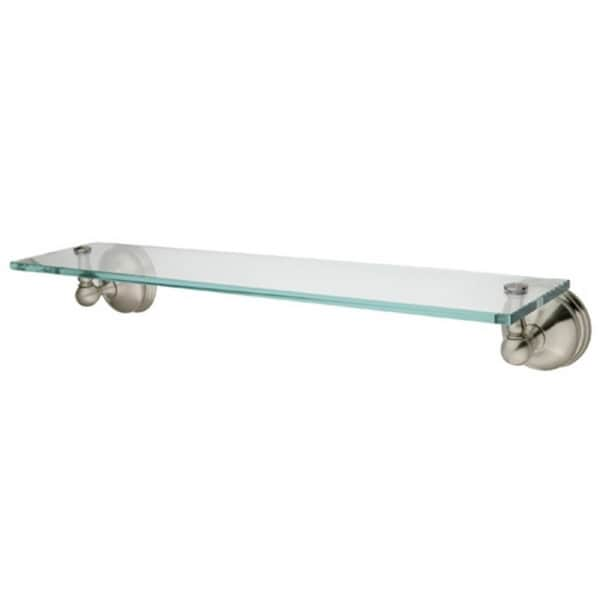 Vintage Satin Nickel Glass Bathroom Shelf