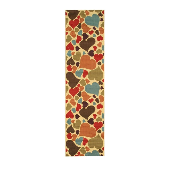"""Ivory Transitional Abstract Hearts Rug - 2'7"""" x 9'10"""""""
