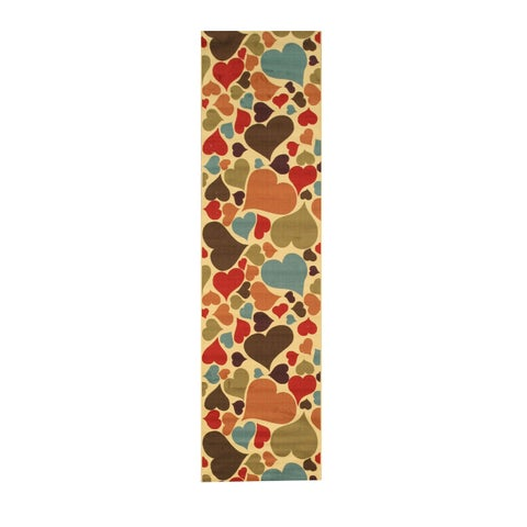 "Ivory Transitional Abstract Hearts Rug - 2'7"" x 9'10"""