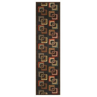 Black Transitional Abstract Retro-Chick Rug (2'7 x 9'10)