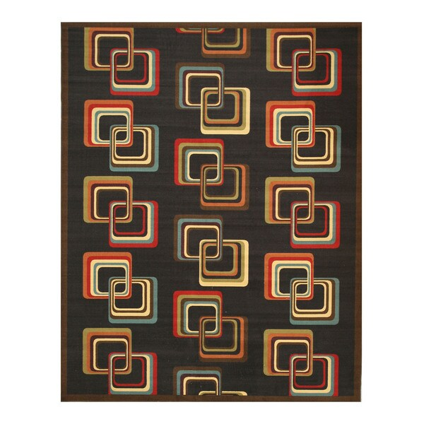 Black Transitional Abstract Retro-Chick Rug (5'3 x 7'3)