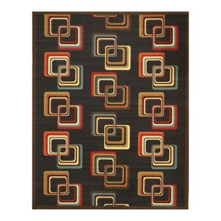 Black Transitional Abstract Retro-Chick Rug (7'10 x 9'10)