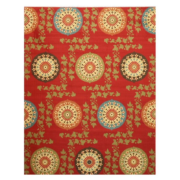 Red Transitional Floral Mandana Rug (7'10 x 9'10)