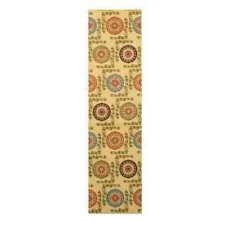 Ivory Transitional Floral Mandana Rug (2'7 x 9'10)