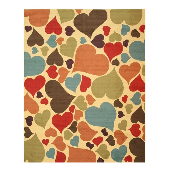 Ivory Transitional Abstract Hearts Rug (7'10 x 9'10)