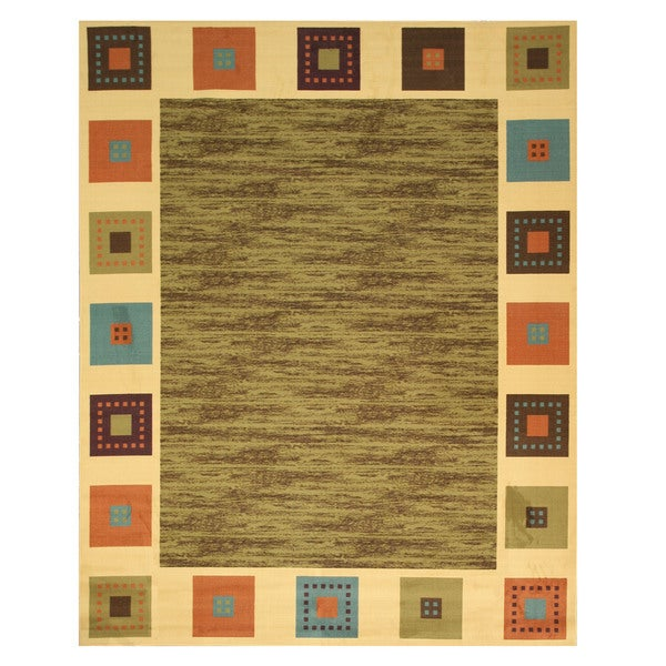 """Green Transitional Solid Gabbeh Rug - 5'3"""" x 7'3"""""""