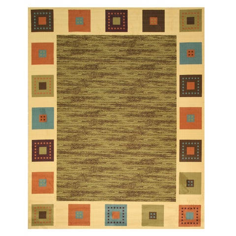 "Green Transitional Solid Gabbeh Rug - 5'3"" x 7'3"""