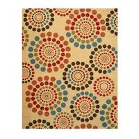 "Ivory Transitional Abstract Bubbles Rug - 5'3"" x 7'3"""