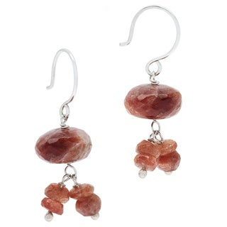 Sterling Silver Fancy-cut Goldstone Hook Dangle Earrings