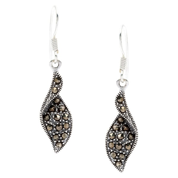 Sterling Silver Marcasite Polished Hook Earrings